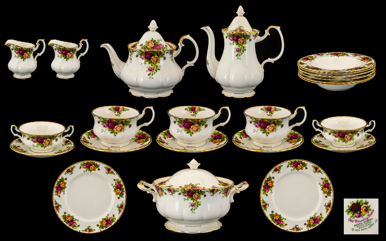 Lot 696 - Royal Albert Old Country Roses Set comprising: six large bowls; a large two handled lidded tureen;