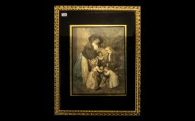Large Coloured Mezzotint Print, Depicting Children with their Parents In a Room Setting,