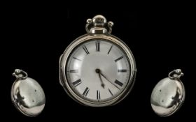 19thC Pair Cased Pocket Watch White Enamelled Dial With Roman Numerals, Chain Driven Fusee,