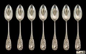 Set of 7 German Silver Antique Teaspoons Moulded Floral Design, Marks For .