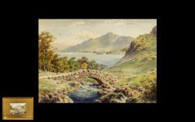 Albert Rosser British Artist 1899 - 1995, Titled ' Ashness Bridge ' Derwent Water Watercolour.