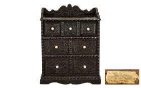 Wigton Interest, Naive Scratch Carved Antique Cumbrian Miniature Chest of Drawers with whale bone