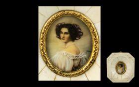 Italian Ivory Framed Miniature Painted on Ivory - Depicting a Beautiful Lady, Indistinctly Signed,