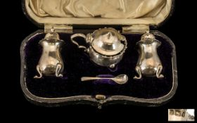 Walker and Hall Boxed ( 4 ) Piece Sterling Silver Cruet Set. Hallmark Sheffield 1926.