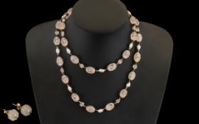Rose Quartz Carved Bead Necklace With Pearls, 9ct Gold Baubles And Red Gem Spacers,
