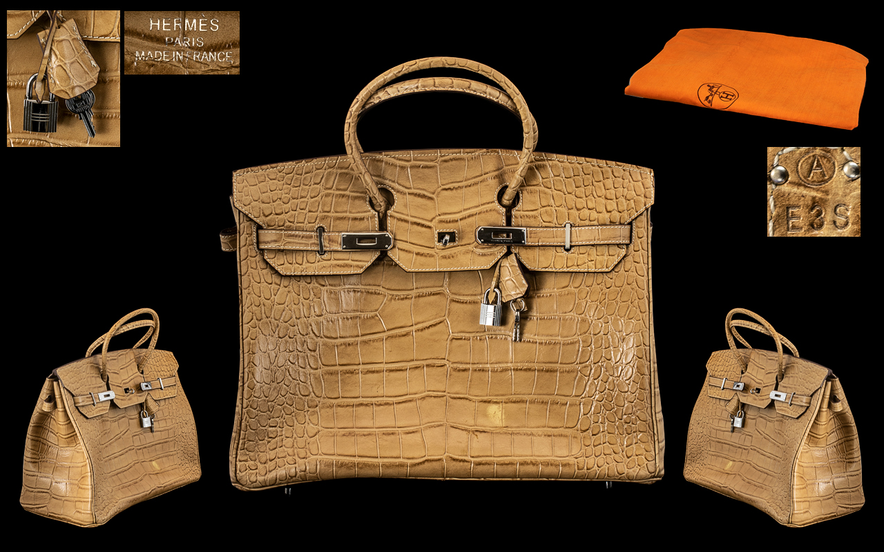Lot 44 - Hermes - Paris Stunning Birken Alligator Bag with Palladium Plated Hard wear,