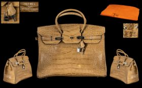 Hermes - Paris Stunning Birken Alligator Bag with Palladium Plated Hard wear,