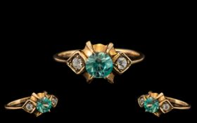 An Antique 9ct Gold Aqua Marine and Diamond Ladies Ring, Lovely Style. Ring Size - N.