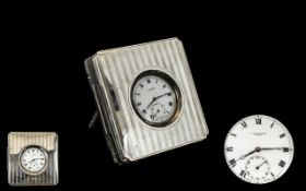 Travellers Benson - Sterling Silver Cased Open Faced Pocket Watch with Silver and Leather Carrying