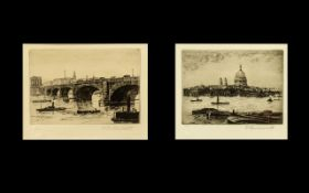 Pair of Original Etchings By W. Hawksworth Ltd Edition of 500, Depicting St.