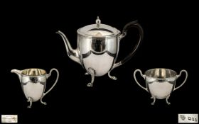 Early 20th Century Superb Sterling Silver Bachelors 3 Piece Tea Service of Wonderful Proportions