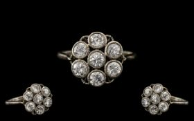 An Antique Period Attractive and Top Quality 18ct White Gold and Platinum Diamond Set Cluster Ring,