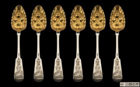 Antique Period Superb Matched Harlequin Set of Six Sterling Silver Fiddleback Berry Spoons with gilt