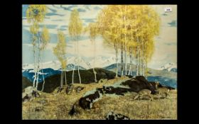 Large Glazed and Framed Coloured Print -Titled ' Autumn In The Mountains ' A. Stokes.