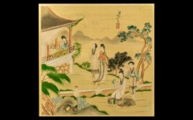 Fine Quality Chinese Painting on Silk of an Elegant Garden Setting with ladies in a pavilion;