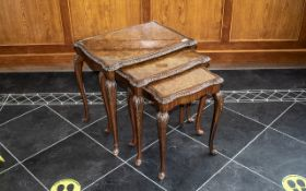 Nest of Three Walnut Tables, Queen Anne Style with glass tops,