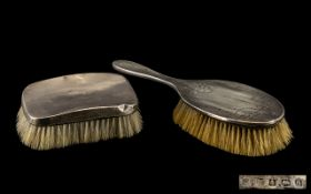 Silver Hair Brush with a Silver Clothes Brush. Birmingham 1900's.