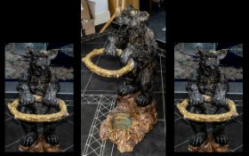 Black forest Type Umbrella Stand In The Form of a Performing Bear. Mid 1950's, Resin Construction.
