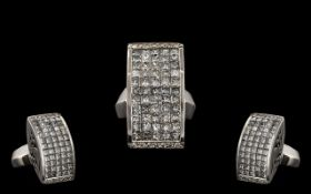 A Contemporary Designed 18ct White Gold - Stunning and Top Quality Diamond Set Dress Ring of Large