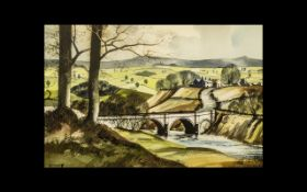 J. R. Hurley. A Rural English Landscape In Summer with a Bridge Over a River - Watercolour, Signed.