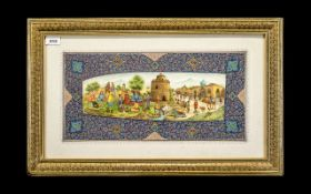 Fathollah Abbasi Iranian Artist - Outdoor Scene with Figures Watercolour on Ceramic, Mounted and