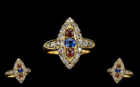 Victorian Period 18ct Gold - Attractive Marquise Shaped Cluster Ring, Set with Diamonds,