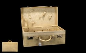 1930's Cream Leather Small Suitcase with chromed locks,