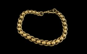 9ct Gold Roller Ball Design Bracelet of excellent proportions and design, with full hallmark for 9.