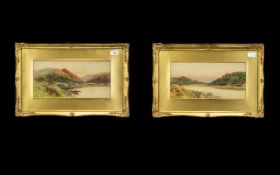 Pair of Watercolour Drawings of River Landscapes signed Alex Gordon, in gilt mounts and frame.