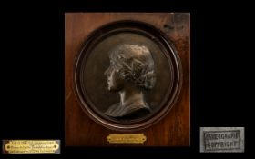Bronze Plaque of the Late Queen Mother when HRH The Duchess of York c1924,