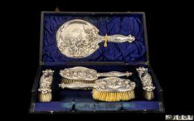 Art Nouveau - Superb Ladies Sterling Silver Boxed 5 Piece Vanity Set,