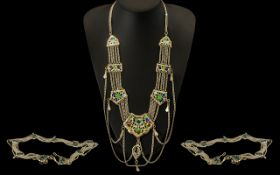 Ornate Belt & Necklace on white metal with decorative coloured enamelling.