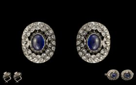 Russian - 14ct White Gold Impressive and Quality Pair of Sapphire and Diamond Set Earrings.