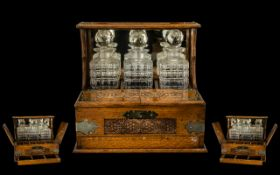 Victorian Period - Superb Oak Tantalus with Three Cut Glass Decanters,