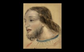 A Fine Quality Victorian Pastel Drawing of the Head of the Christ. Unsigned and Unframed. Size 11.