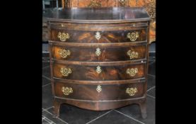 Late 19th Century Small Sized Bow Fronted Mahogany Gentleman's Dressing Chest with Brass Fret