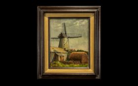 Robert William Bates ( Exh 1924 - 1928 ) Lived Rowley Cheshire - View of a Large Windmill on a Farm