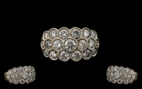 18ct White Gold - Nice Quality Pave Set Diamond Cluster Ring. Fully Hallmarked for 750 - 18ct. The