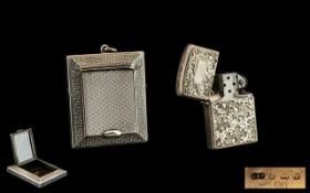 Sterling Silver Hinged Case Petrol Lighter, Marked Sterling 950, with Vacant Cartouche and Chased