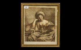 18th Century F Bartolozzi Antique Sepia Print of a Lady Reading a Book: F Barbieni Detto- Puercina.