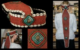 Rare Antique Tibetan Ceremonial Headdress, decorated with thousands of small red coral type beads,