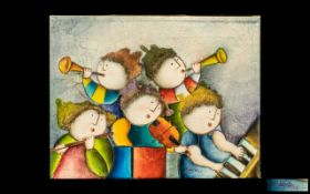 Joyce Roybal (1955 - ) Original Oil Painting on Canvas of whimsical children playing a violin,