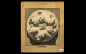 Neo-Classical Exhibition Drawing of a Carved Marble Floral Boss,