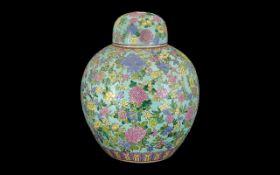 Oriental Chinese Ginger Jar Decorated In Famille Rose Enamel, Depicting Roses Design,