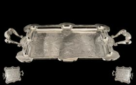 Late 19th Century Ornate and Impressive Solid Silver Twin Handle Serving Tray with Shaped Handles