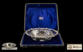 Early 20th Century Elaborate Open worked Sterling Silver Footed Bowl with Shaped Scroll / Shell