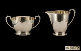 Art Deco Period - Good Quality Sterling Silver Pair of Matching Twin Handle Sugar Bowl and Cream