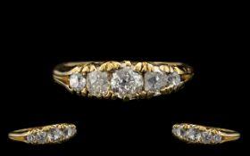 Antique Period - 19th Century Attractive 18ct Gold Gallery Set 5 Stone Diamond Set Ring.