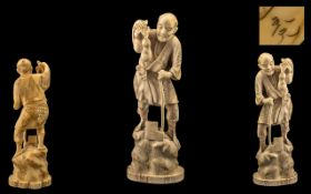 Japanese - Meiji Period 1864 - 1912 Fine Quality Signed Carved Ivory Figure of a Japanese Male