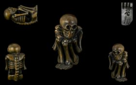 A Japanese Carved Boxwood Netsuke In The Form of a Gashadokuro, Excellent Condition In All Aspects,